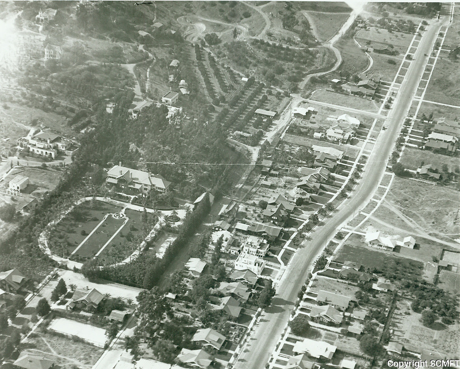 1935 Aerial photo of Josep Giroux (now the Monastary of the Angels). Krotona Theosophical Society building is just behind Giroux residence