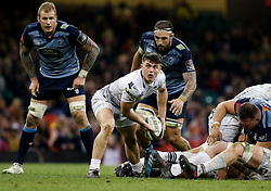 Ospreys' Reuben Morgan-Williams gets the ball away<br /> <br /> Photographer Simon King/Replay Images<br /> <br /> Guinness PRO14 Round 21 - Cardiff Blues v Ospreys - Saturday 28th April 2018 - Principality Stadium - Cardiff<br /> <br /> World Copyright © Replay Images . All rights reserved. info@replayimages.co.uk - http://replayimages.co.uk