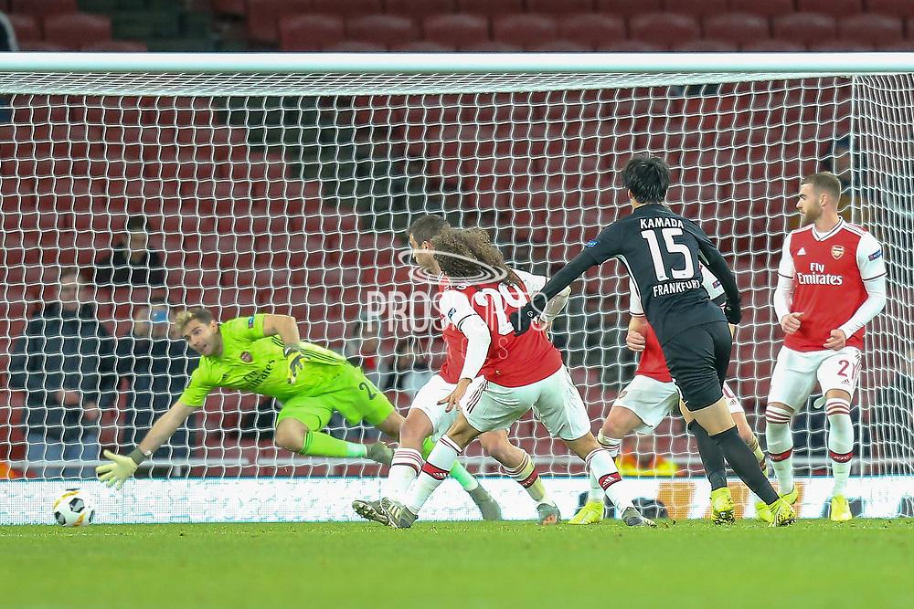 GOAL 1-2 Eintracht Frankfurt midfielder Daichi Kamada (15) scores during the Europa League match between Arsenal and Eintracht Frankfurt at the Emirates Stadium, London, England on 28 November 2019.