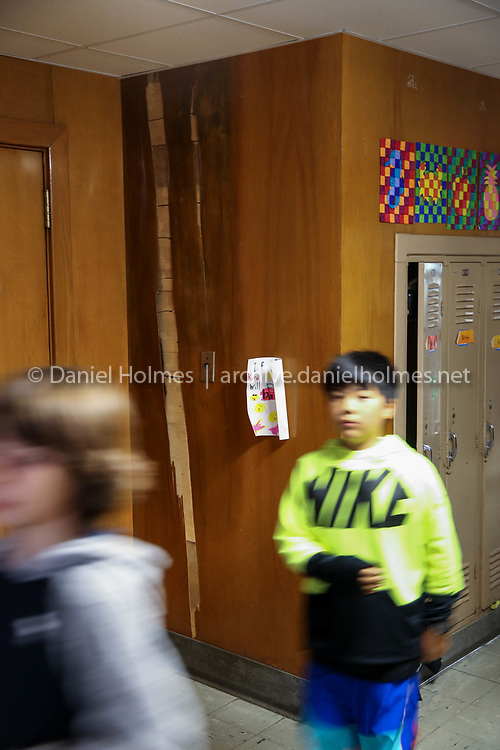 (4/27/18, ASHLAND, MA) Water damage during a tour of the David Mindess Elementary School in Ashland on Friday. [Daily News and Wicked Local Photo/Dan Holmes]