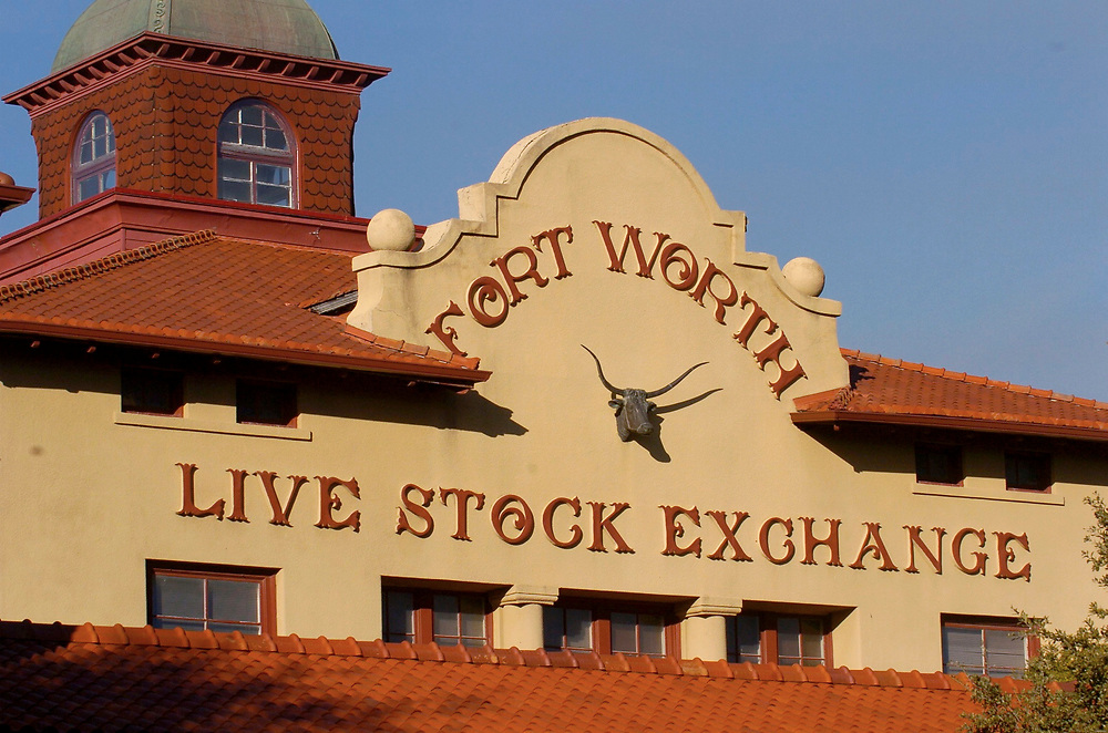Fort Worth, Texas January, 2006: The Fort Worth Stock Yards,  once alive with cowboys, longhorn cattle and railroad cars headed to beef markets nationwide, now is home to a touristy area of restuarants, souvenior shops. ©Bob Daemmrich/