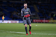 Norwich city goalkeeper Angus Gunn celebrates after his teammate Marco Stiepermann scores his teams 1st goal. EFL Skybet championship match, Cardiff city v Norwich city at the Cardiff city stadium in Cardiff, South Wales on Friday 1st December 2017.<br /> pic by Andrew Orchard, Andrew Orchard sports photography.