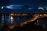 First light from the East over Penzance harbour in Mount's Bay, South West Cornwall.