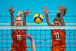 Indy Baijens of Netherlands and Anne Buijs of Netherlands (r) in action during the Women's friendly match between Belgium and Netherlands at Topsporthal Beveren on may 09, 2021 in Beveren, Belgium (Photo by RHF Agency/Ronald Hoogendoorn)