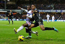 30.12.2012, Loftus Road, London, ENG, Premier League, Queens Park Rangers vs FC Liverpool, 20. Runde, im Bild Liverpool's Raheem Sterling in action against Queens Park Rangers' Shaun Wright-Phillips during the English Premier League 20th round match between Queens Park Rangers and Liverpool FC at Loftus Road, London, Great Britain on 2012/12/30. EXPA Pictures © 2012, PhotoCredit: EXPA/ Propagandaphoto/ David Rawcliffe..***** ATTENTION - OUT OF ENG, GBR, UK *****