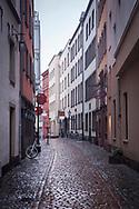 Coronavirus / Covid 19 outbreak, January 28th. 2021. The deserted Lintgasse in the old town, rainy weather, Cologne, Germany.<br /> <br /> Coronavirus / Covid 19 Krise, 28. Januar 2021. Die menschenleere Lintgasse in der Altstadt, Regenwetter,  Koeln, Deutschland.