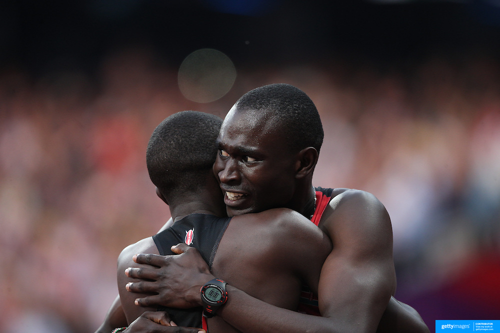 David Lekuta Rudisha, Kenya, wins the Men's 800m Final in a World Record time of 1:40.91 and celebrates with team mate  Timothy Kitum who won the Bronze Medal at the Olympic Stadium, Olympic Park, during the London 2012 Olympic games. London, UK. 9th August 2012. Photo Tim Clayton