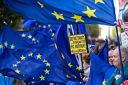 EU flags cat the breeze as Parliament debates a move by MPs to get an extension to Article 50 rather than allowing the Government to leave the EU without a deal on October 31st. London, September 04 2019.