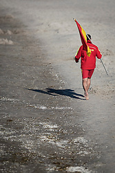 THEMENBILD - Deutsche Lebens-Rettungs-Gesellschaft ist eine gemeinnützige und selbstständige Wasserrettungs- und Nothilfeorganisation. Sie arbeitet grundsätzlich ehrenamtlich mit freiwilligen Helfern. Mit knapp über 550.000 Mitgliedern, Aufgenommen am 9. Juni 2015 in Prerow. Hier im Bild Carsten Rosenberg, Fahren, Schwimmbereichsbegrenzung, bewachter Strand, DLRG, Wasserrettung, Wachstation // German Life Saving Association is a relief organization for life saving in Germany. The DLRG is a non-profit, independent organization based on volunteers. Hauptuebergang in Prerow, Germany on 2015/06/10. EXPA Pictures © 2015, PhotoCredit: EXPA/ Eibner-Pressefoto/ Walther<br /> <br /> *****ATTENTION - OUT of GER*****