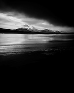 Storm clouds move in over Achnahaird Beach in Scotland.