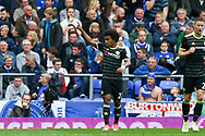 Willian of Chelsea celebrates after scoring his teams 3rd goal. Premier league match, Everton v Chelsea at Goodison Park in Liverpool, Merseyside on Sunday 30th April 2017.<br /> pic by Chris Stading, Andrew Orchard sports photography.