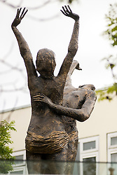 A risqué statue of two naked, embracing lovers which caused outrage in 1967 when first erected in Doncaster's Arndale shopping centre, found a new home in Doncasters Waterdale Shopping Centre on Friday afternoon (June 19 2015). St. Modwen Properties a British-based property investment and development business that specialises in regenerating urban areas, discovered the statue in storage and in need of repair after purchasing Waterdale in 2013. Constructed from fibreglass and damaged during years in storage St. Modwen got together with Artfuel, a local art group and restored the artwork. Doncasters 'Lovers' sculpture returned in all it's glory to public view, almost 30 years after it disappeared. It now stands on a soon to be flood lit glass canopy in the Waterdale Shopping Centre close to the Staff Of Life public house.<br /> <br /> 19 June 2016<br /> Image Copyright Paul David Drabble<br /> www.pauldaviddrabble.co.uk