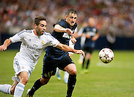 10 AUG. 2013 -- ST. LOUIS -- Real Madrid's Dani Carajal (15) battles Inter Milan's Zdravko Kuzmanovic (17) for control of the ball during a match between the teams  at the Edward Jones Dome in St. Louis Saturday, Aug, 10, 2013. Photo © copyright 2013 Sid Hastings.