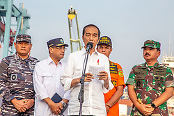 November 2, 2018 - North Jakarta, Indonesia - Indonesian President JOKOWIDODO visits Tanjung Priok Harbour for the second time to give brief with Indonesian Search and Rescue team with military help in processing of the finding of the victim of the plane crash, fuselage, and also one black box in Karawang sea. (Credit Image: © Donal Husni/ZUMA Wire)