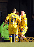 Photo: Ashley Pickering.<br />Southend United v Leicester City. Coca Cola Championship. 03/03/2007.<br />Iain Hume of Leicester (R) celebrates his goal with team mates (0-1)