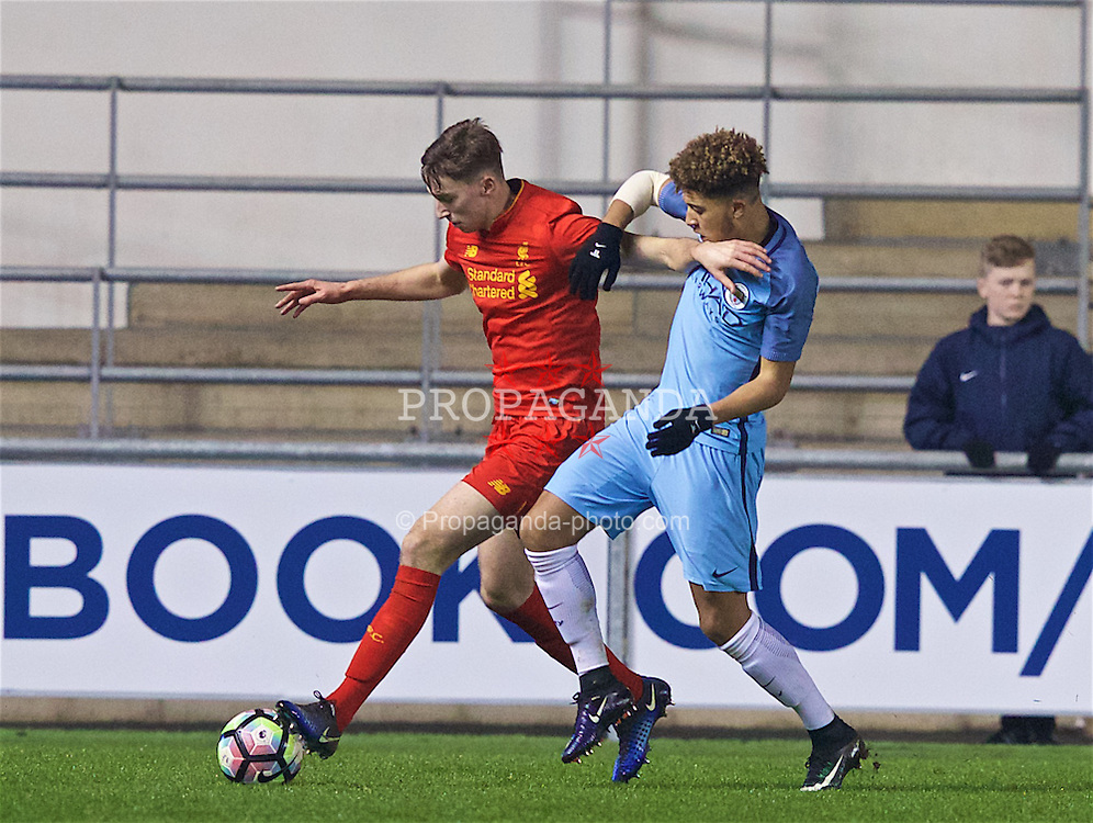 MANCHESTER, ENGLAND - Wednesday, January 18, 2017: Liverpool's Conor Masterson in action against Manchester City's Jadon Sancho during the FA Youth Cup 4th Round match at the Academy Stadium. (Pic by Gavin Trafford/Propaganda)