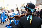 Wakefield Morris dancers performing at the Wakefield Rhubarb festival in Yorkshire, UK on 24th February 2018. Wakefield are a North West old Lancashire and Cheshire areas of England Processional Morris side