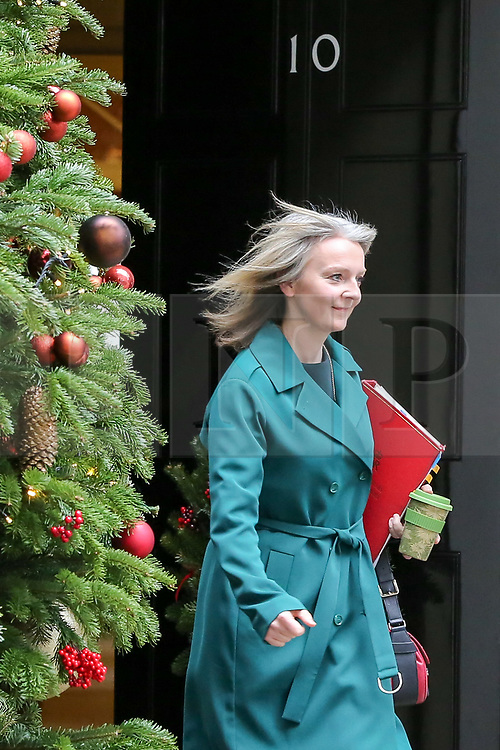"""© Licensed to London News Pictures. 18/12/2018. London, UK. Liz Truss - Chief Secretary to the Treasury departs from No 10 Downing Street after attending the weekly Cabinet Meeting that discussed the preparations for a """"No Deal"""" Brexit. Photo credit: Dinendra Haria/LNP"""