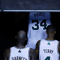 03 May 2013: Boston Celtics small forward Paul Pierce (34), Boston Celtics shooting guard Jason Terry (4) and Boston Celtics center Kevin Garnett (5) leave the court at the end of the New York Knicks 88-80 victory over the Boston Celtics during Game Six of the Eastern Conference Quarterfinals of the 2013 NBA Playoffs at the TD Garden, Boston, Massachusetts, USA.