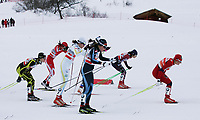 Aurore Jean (FRA), Ewelina Marcisz (POL), Sara Lindborg (SWE), Svetlana Nikolaeva (RUS), Kerttu Niskanen (FIN), Madoka Natsumi (JPN) und Vikebe Skofterud (NOR) am Start  (Pascal Muller/EQ Images)