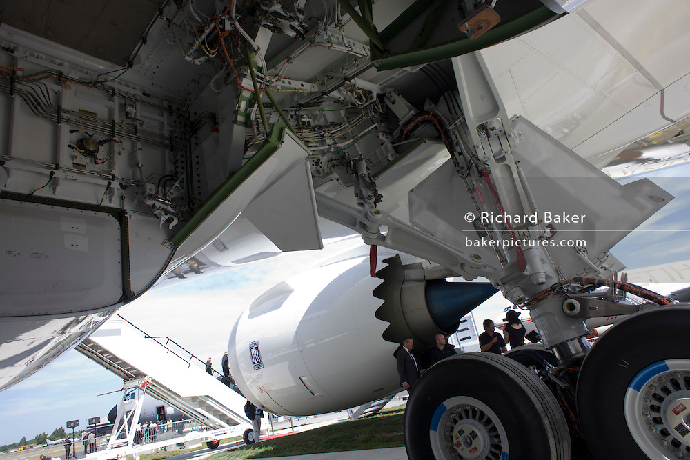 Undercarriage and main wheels bays of Boeing-manufactured 787 Dreamliner (N787BX) at the Farnborough Airshow.