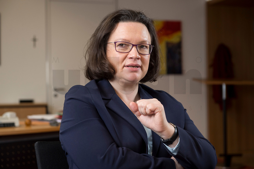 15 MAR 2018, BERLIN/GERMANY:<br /> Andrea Nahles, SPD Fraktionsvorsitzende, waehrend einem Interview, in ihrem Buero, Jakob-Kaiser-Haus, Deutscher Bundestag<br /> IMAGE: 20180315-01-011<br /> KEYWORDS: Büro