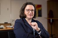 15 MAR 2018, BERLIN/GERMANY:<br /> Andrea Nahles, SPD Fraktionsvorsitzende, waehrend einem Interview, in ihrem Buero, Jakob-Kaiser-Haus, Deutscher Bundestag<br /> IMAGE: 20180315-01-011<br /> KEYWORDS: Büro