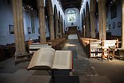 Bible open at St John's gospel inside church, St. Mary's Parish Church, Woodbridge, Suffolk, England