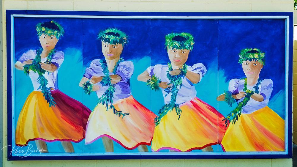 Hula dancers mural, Kailua-Kona, The Big Island, Hawaii
