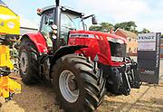 Massey Ferguson 7726 red tractor on sale at Thurlow Nunn Standen sales forecourt, Melton, Suffolk, England, UK