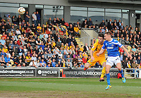 Portsmouth's Jed Wallace scores his sides second goal <br /> <br /> Photo by Kevin Barnes/CameraSport<br /> <br /> Football - The Football League Sky Bet League Two - Newport County AFC v Portsmouth - Saturday 29th March 2014 - Rodney Parade - Newport<br /> <br /> © CameraSport - 43 Linden Ave. Countesthorpe. Leicester. England. LE8 5PG - Tel: +44 (0) 116 277 4147 - admin@camerasport.com - www.camerasport.com