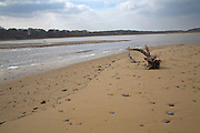 Breach of beach bar by the sea, Benacre Broad, national nature reserve, Suffolk, England