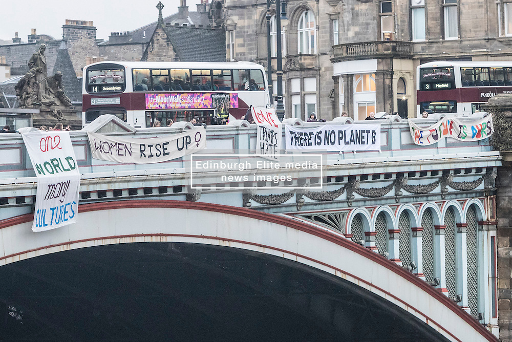 On the day of the president-elect's inauguration, banners will be dropped from bridges across the UK to show support for peace and tolerance. At least six banners will be unfurled from Edinburgh's North Bridge, but similar events will be taking place in cities across Britain.<br /> <br /> The initiative began as the brainchild of Hastings ice cream man and homeless shelter worker Will Stevens in the aftermath of the shock US election result. It has rapidly gained momentum and is now being backed by a growing number of existing activist groups, community groups and larger campaign organisations who share anxiety about recent political events both here and in the US.