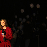 WECT reporter Kasey Cunningham prepares to broadcast live from a vigil to remember Keith Vidal in Boiling Spring Lakes Saturday January 18, 2014. Friends and family of the late Keith Vidal joined residents of Boiling Spring Lakes and neighboring communities for a walk and vigil remembering his life. Vidal was shot and killed earlier this month by a police officer. (Jason A. Frizzelle)
