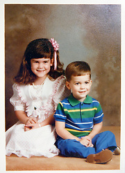 21 May 2015. Laurel, Mississippi.<br /> Collect photos of plus size model Tess Holliday (formerly known as Tess Munster, née Ryann Hoven) in her formative years from a family album. Tass and her brother Tad.<br /> Photo credit; Tadlock via Varleypix.com