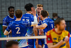 Bennie Tuinstra of Lycurgus, Jerome Cross of Lycurgus celebrate during the cup final between Amysoft Lycurgus vs. Draisma Dynamo on April 18, 2021 in sports hall Alfa College in Groningen