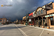 Empty Central Avenue on a Friday evening during the Coronavirus outbreak in Whitefish, Montana, USA