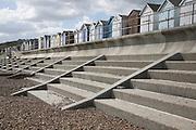 Concrete steps and wave return wall. Coastal defences, Felixstowe, Suffolk, England