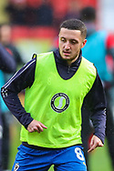 AFC Wimbledon midfielder Anthony Hartigan (8) warms up prior to the EFL Sky Bet League 1 match between Charlton Athletic and AFC Wimbledon at The Valley, London, England on 15 December 2018.