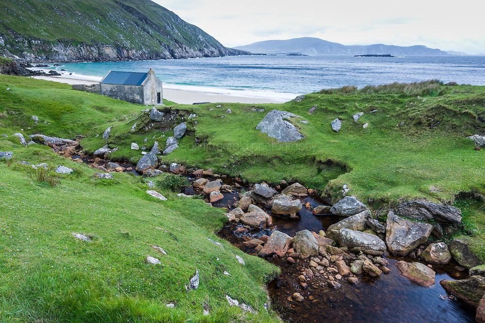 Creek and small house, Keem Bay, Achill Island, County Mayo, Ireland