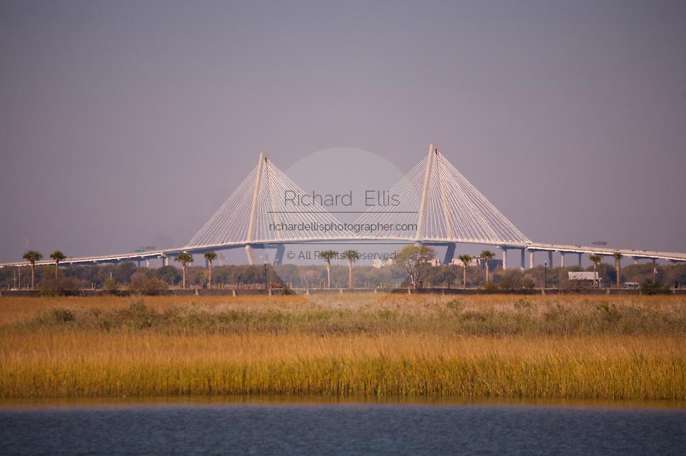 Arthur Ravenel, Jr. Bridge across the Cooper River in Charleston seen from the marsh in Mount Pleasant, South Carolina.