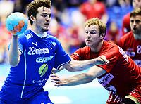 Håndball ,26. mars 2014 , Eliteserien herrer<br /> Drammen - Follo<br /> Gøran Sørheim , DHK og Joakim Patriksson , Follo