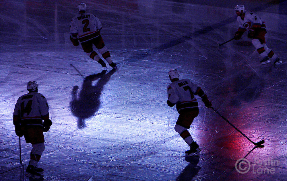 epa00712061 Members of the Carolina Hurricanes warm up before the start of the New Jersey Devils' 5-1 victory over the Hurricanes in game four of the round two playoffs at Continental Airlines Arena in East Rutherford, New Jersey Saturday 13 May 2006.  EPA/JUSTIN LANE
