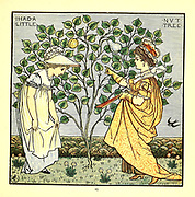 I had a little nut tree, / Nothing would it bear, / But a silver nutmeg<br /> And a golden pear; // The King of Spain's daughter / Came to visit me, / And all for the sake / Of my little nut tree. From the Book '  The baby's opera : a book of old rhymes, with new dresses by Walter Crane, and Edmund Evans Publishes in London and New York by F. Warne and co. in 1900