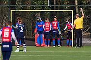 BILTHOVEN -  Hoofdklasse competitiewedstrijd dames, SCHC v hdm, seizoen 2020-2021.<br /> Foto: SCHC klaar voor strafcorner