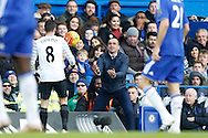 Roberto Martínez, the Everton manager throwing the ball to Bryan Oviedo of Everton. Barclays Premier league match, Chelsea v Everton at Stamford Bridge in London on Saturday 16th January 2016.<br /> pic by John Patrick Fletcher, Andrew Orchard sports photography.
