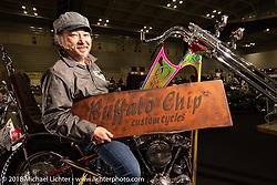 Katsuya Chiba of Buffalo Chip Custom Cycle's on his 1965 FLH Duo-Glide Panhead at the 27th Annual Mooneyes Yokohama Hot Rod Custom Show 2018. Yokohama, Japan. Sunday, December 2, 2018. Photography ©2018 Michael Lichter.
