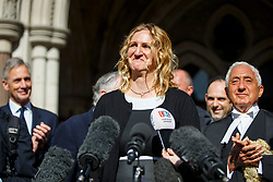 © Licensed to London News Pictures.15/03/2017.London, UK. CLAIRE BLACKMAN, wife of Sergeant Alexander Blackman, reads a statement outside the Royal Courts of Justice in London, where a ruling was made in an appeal against the conviction of Sgt Blackman.  Also known as Marine A, Sgt Blackman's life sentence for the murder of a wounded Taliban fighter in Afghanistan in 2011 reduced to manslaughter.Photo credit: Tolga Akmen/LNP