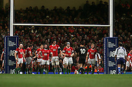 The Welsh players line up under the posts as Dan Carter kicks. Invesco Perpetual series 2008 autumn international match, Wales v New Zealand at the Millennium Stadium on Sat 22nd Nov 2008. pic by Andrew Orchard, Andrew Orchard sports photography,