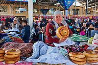 Ouzbékistan, Samarcande, classé Patrimoine Mondial de l'UNESCO, Siab bazar, pain ouzbek // Uzbekistan, Samarkand, Unesco World Heritage, Siab bazaar, Uzbek bread
